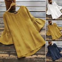 ZANZEA Women Flare Bell Sleeve Frill Casual Shirt Tops Summer Plain Basic Blouse