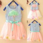 Cute 3D Umbrella Lace Baby Kid Girls Princess Flow Petals Denim Tulle Dress 1-4Y