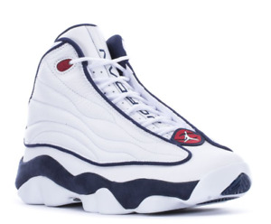 JORDAN PRO STRONG Men Comfy Leather Mid Top Basketball Sneaker White Navy New .