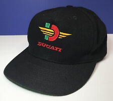 Vintage DUCATI Otto Cap Snap-Back Hat Black Embroidered Red Green Yellow Logo