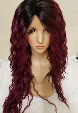 Purple red human hair wig perm curly ombre roots front lace wig