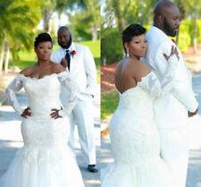 2018 Plus Size Lace Mermaid Long Sleeve Sheer Wedding Dress Bridal Gown Custom