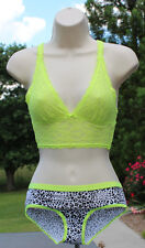 Victoria's Secret Lace Bra Bralette Neon Racerback with Pantie Lot XS