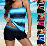 2 Teiler Badeanzug Hotpants Bademode Schwimmanzug Sports Tankini S M L 5XL BC523