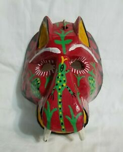 Hand Carved Wooden Tiger Lion Mask Lizard Teeth Abstract Folk Art Wall Hanging