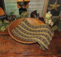 Prim Antique Vtg Style Acorn Weave Black Tan Cotton Woven COVERLET RUNNER RQ9WSR