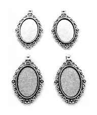 4 Ant. Silvertone Jessica Style 30mm x 20mm Cameo Pendant Frames Settings