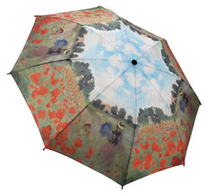 UMBRELLA MINI CLAUDE MONET RED POPPIES FLOWERS IMPRESSIONIST ART PROVENCE FRANCE