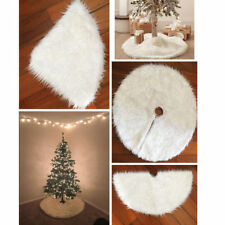 Soft Round Snowflake Plush Christmas Tree Skirt Floor Mat Cover Home Party Decor