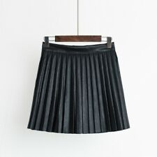 Lady Faux Leather Pleated Mini Skirt Wet Look Casual Vintage Flared Skater Short