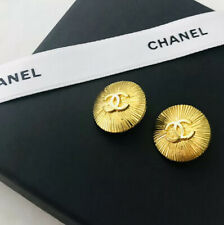 RARE Vintage CHANEL Gold metal Stamped buttons 18mm