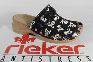 Rieker Girl Clogs Sabot Fabric Black/White New