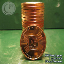 """Silver & Shells"" 1 oz.999 Copper 20 rounds Part of Safety In #s 1 Roll in tube"