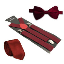Hosenträger + Fliege + Krawatte Set -Y Form 25mm 3 Clips Fliege Weinrot Maroon
