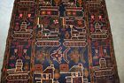 BALOCH AFGHAN HAND MADE WAR RUG SHOWING HELICOPTERS AND TANKS