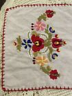 Vintage Emboidered Table Runner Red Floral  28x12