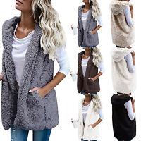 Womens Vest Fleece Fur Waistcoat Gilet Winter Warm Hooded Fluffy Coat Fashion