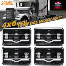"""4X6"""" LED Headlights Red Demon Sealed Hi/Lo Fog Light For Freightliner FLD120 112"""