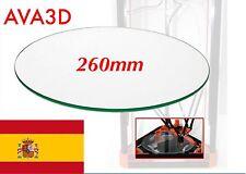 Cristal Glass 260mm (26cm)  Rostock Kossel Reprap Impresora 3D Heatbed Cam. Cal.