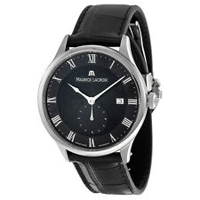 Maurice Lacroix Masterpiece Black Dial Black Leather Mens Watch MP6907-SS001-310