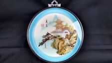 Exotic Asian Wall Hanging Pagoda Carved Sea Shell Round Blue Black Glass Frame