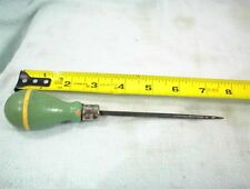 VINTAGE AWL SHOP KITCHEN COOKING UTENSIL WITH GREEN WOOD HANDLE