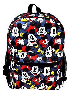 """Disney Mickey Mouse Backpack 16"""" All-Over Print Classic Front & Side Pockets"""