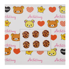 Brown Leopard Pattern Home Button Stickers 6 in 1 for iPhone 4 4G 4S 4GS 5 O5V5