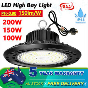 High Bay LED Lights AU Plug 200W 150W 100W Industrial Warehouse Factory Gym Farm