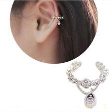 Silver Women Ear Cuff Wrap Crystal Rhinestone Clip on Earring Jewelry 1pc