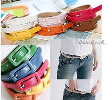 Womens ladies Fashion Coloured Buckle Needle Thin Skinny Low Waist Leather Belt