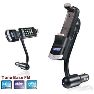 21D Bluetooth FM TRANSMITTER FREISPRECHANLAGEN 3.5mm AUX Iphone iPod Halterung