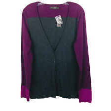 The Limited Women's Size XL Sweater Gray Plum Button Down Cotton Cardigan New