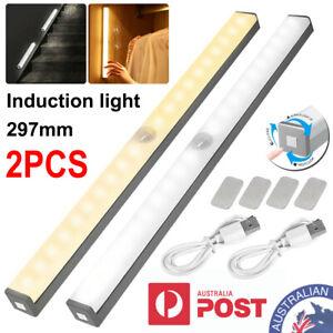 2Pcs LED Under Cabinet Light PIR Motion Sensor Wardrobe Kitchen Cupboard Lamp AU