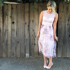 Ted Baker Pink Floral Midi Summer Dress Cocktail Wedding Organza Party 6 to 14