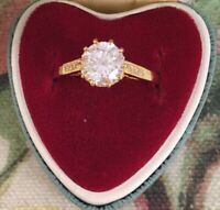 Vintage Jewellery Gold Ring with White Sapphires Antique Deco Jewelry size S