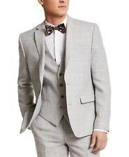 Bar III Men's Slim-Fit Gray Plaid Linen Suit Jacket 44L Grey