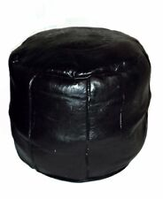 Moroccan Handmade Large Leather Pouffe in Black Footstool Beanbag Stitched