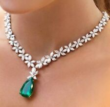 25.00 Ct Emerald & Diamond Cluster Tennis Necklaces 925 Sterling Silver
