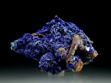 Royal Blue Azurite Crystals with Quartz & Green Malachite Pseudomorph #1