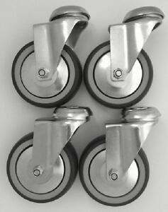"""Catering & Display Bolt Hole Castors w/ Grey Rubber Tyre, 4-Pack (75-125MM/3-5"""")"""