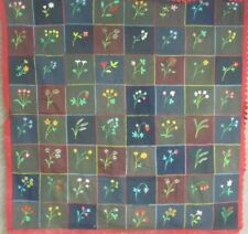 PA Mennonite Amish c 1890-1900 ANTIQUE Quilt Embroidered Flowers Cherries