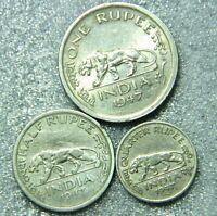BRITISH INDIA ONE,HALF & QUARTER  RUPEE TIGER  COINS - COPPER NICKEL 3 OLD COINS