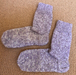 New NWOT Womens Fancy Sequin Hand Knitted Wool Socks 7-11 25 Cm
