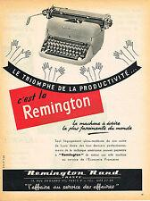PUBLICITE ADVERTISING 114  1954  REMINGTON RAND machine à écrire