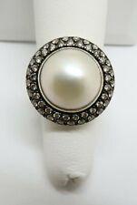 David Yurman Sterling Silver and Diamond 14mm Midnight Mabe Pearl Ring