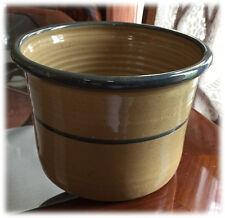 Vintage 1986 Kasco Pottery Crock Ochre Glaze Green Stripe Rim Ridged Interior