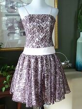 C. W. Designs Pink Brown Lace Dress Full Skirt M NWOTs