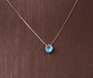 PARAIBA TOURMALINE ROSE GOLD COLORED OVER STERLING SILVER NECKLACE #10940
