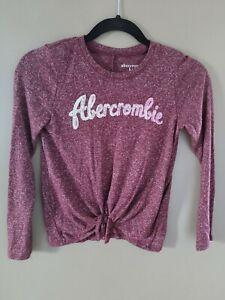 Abercrombie Kids Girls Shirt Long Sleeve Top Size 7/8 Maroon Sequin Logo